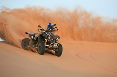 Dubai 2-Hour Quad Biking Tour This tour will allow you to experience the Arabian Desert on a Quad bike. Experience the thrill of driving quad bike over the sand dunes of Dubai.   You will be picked up from your hotel in Dubai or Ras Al Khaima and with A/C vehicle head towards our desert station, for about 45 minutes.Once you arrive, you will receive a short briefing of safety instructions on driving your quad bike.Then you can just strap on your supplie...