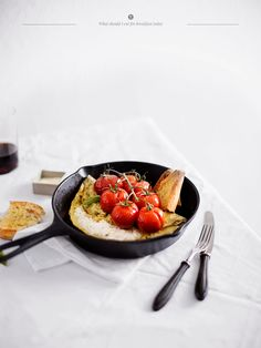 Basil omelette with cottage cheese and baked tomatoes