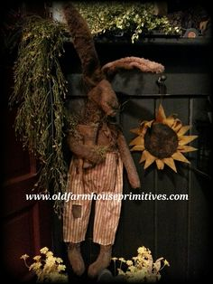 """Primitive Sitting Or Hanging Rabbit """"Tucker"""" (Made In USA)"""