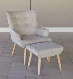 Lounges : Alves Fabric Tub Chair And Ottoman-5033 Perth, Western Australia - Furniture Bazaar