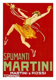 Vintage advertising posters | Martini Bold colors, character in motion, strong diagonal lines create movement