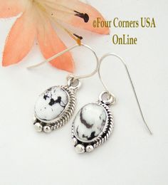 Four Corners USA Online - White Buffalo Turquoise Sterling Earrings Native American Navajo Artisan Burt Francisco NAER-1469, $92.00 (http://stores.fourcornersusaonline.com/white-buffalo-turquoise-sterling-earrings-native-american-navajo-artisan-burt-francisco-naer-1469/)