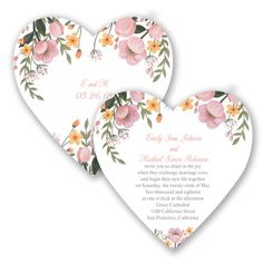 This die-cut invitation, in the shape of a heart, is decorated with charming wild flowers. #GardenWedding #WeddingInvitations #DavidsBridal http://www.invitationsbydavidsbridal.com/Wedding-Invitations/Floral-Invitations/2947-DB34777COR-Sweetheart-Floral--Coral-Reef--Invitation.pro?&sSource=Pinterest&kw=GardenAffair_DB34777COR