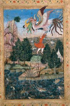Simurg'un Timsahlarla dolu nehre düşen insanları kurtarması. -   Basawan. The Flight of the Simurgh. ca. 1590, Sadruddin Aga Khan Collection