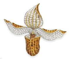 A SUPERB DIAMOND AND CITRINE ORCHID BROOCH, BY RENE BOIVIN   Designed as an orchid, extending undulating circular-cut diamond petals and a leaf, with calibré-cut citrine trim and gold veining, centering upon a calibré-cut citrine and circular-cut diamond articulated bombé pistil, enhanced by circular-cut yellow diamond and vari-cut diamond accents, mounted in 18k gold and platinum, with French assay marks and maker's mark, in a René Boivin gold fitted case  Signed René Boivin