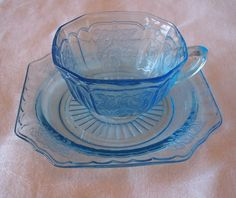 Blue Mayfair Depression Glass cup and saucer