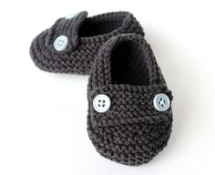 Charcoal Loafer Style Baby Knit Booties  Ready to by carameldiezel, $23.00