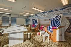 Ready for a break? This office has dedicated space to unwind and relax during the work day.