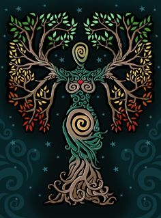 ideas tattoo tree of life albero della vita for 2019 Pagan Art, Goddess Art, Earth Goddess, The Goddess, Goddess Pagan, Inspiration Art, Celtic Art, Nature Paintings, Book Of Shadows