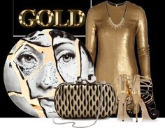 """""""Breaking Through The Surface - How To Rock the Black and Gold Trend Outfit #2"""" by latoyacl ❤ liked on Polyvore"""