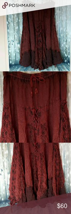 "Festival skirt with matching shirt Beautiful wine colored dance skirt and shirt set. Shirt is small skirt is med. It's made of 100% Rayon. Skirt: 35"" long 16"" waist Shirt: 15"" long to lowest point of front 8"" armpit to highest point of shirt 17"" ribcage cute options Dresses Maxi"