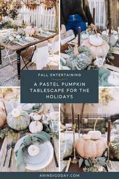 Take your fall and holiday entertaining to the next level with this easy to create pastel pumpkin and eucalyptus tablescape. Perfect for hosting fall dinners, outdoor dining and Thanksgiving. See this easy DIY tablescape from an indigo day today! Fall Home Decor, Autumn Home, Cinderella Pumpkin, Autumn Aesthetic, Fall Dinner, Holiday Style, Style Challenge, White Pumpkins, Autumn Inspiration