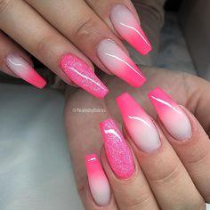 'Neon melon' fade & glitter ✨ (natural nails)