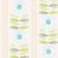 Avril Blue Modern Floral Stripe - Wallpaper