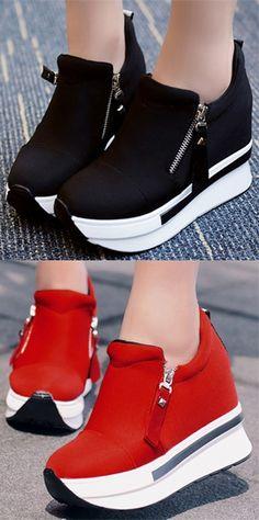Shoespie Side Zipper Platform Sneakers