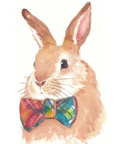 Rabbit Watercolor Original Painting Bowtie by WaterInMyPaint