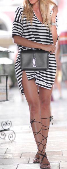 stripe dress. lace up sandals.