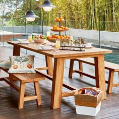 Mandara Teak 2.2m Table with 2 Bench Seats Package - Early Settler