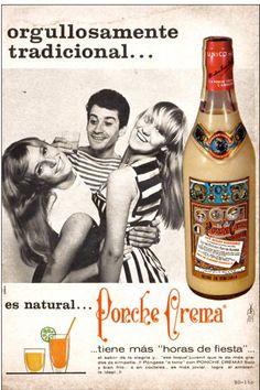 """Ponche Crema Ad for 1967 featuring Herminia """"La Gata"""" Martínez."""