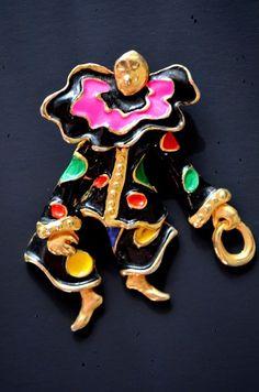 Dancing Clown made with black enamel and Gold Plating Brooch Pin #VintageFigurineBrooch #SagaOfLuck