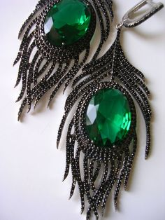 PEACOCK  EARRING sterling hand crafted  fantasy black zirconia emerald green via Etsy