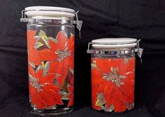 2 Vintage Christmas Glass Canister Lid Ceramic Poinsettia Design oval Shaped set #Unbranded