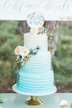 A Seaglass Inspired Wedding at Secluded Garden Estate Sea Glass Wedding, Beach Wedding Reception, Wedding Cake Rustic, Fall Wedding Cakes, Beautiful Wedding Cakes, Casual Wedding, Blue Wedding, Wedding Colors, Dream Wedding