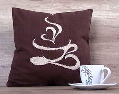 Coffee mug charms coffee  beige handmade needlepoint embroidery cross stitch handmade decorative pillow case 16 x 16 (40 x 40 cm)