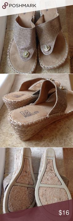 """Gold thong espadrilles Brand new, never worn. 2 3/8"""" heel, great cushioning. Metallic gold fabric upper, natural tan sueded fabric footbed. Modellista Shoes Espadrilles"""