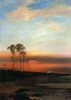 Sunset, 1870 by Aleksey Savrasov. Russian Painting, Russian Art, Famous Artists Paintings, Russian Landscape, Landscape Artwork, Watercolor Trees, Pastel Watercolor, Art Database, Beautiful Paintings