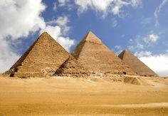 Great Pyramids (Menkaura, Khafre, Khufu) and Great Sphinx. Giza, Egypt. Old Kingdom,  Fourth Dynasty. c. 2550–2490 B.C.E. Cut limestone.