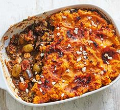 Make this veggie bake filled with lentils, sweet potato, feta and aubergine for an easy family meal. You can freeze any leftovers Bbc Good Food Recipes, Veggie Recipes, Vegetarian Recipes, Cooking Recipes, Veggie Bake, Healthy Recipes, Savoury Recipes, Vegetarian Cooking, Quick Recipes