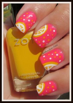 36 Best Attention Nail Art 2015 - Southern Sister Polish: Pink Lemon-aide Nail Art - Click image to find more hair Fancy Nails, Love Nails, Trendy Nails, How To Do Nails, My Nails, Manicure E Pedicure, Manicure Ideas, Cute Nail Designs, Fruit Nail Designs