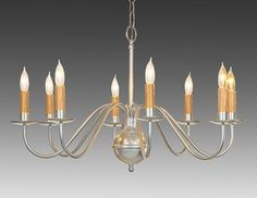 The Federalist Designs-14-Metal Chippendale style eight light chandelier. Shown in custom nickel paint finish.