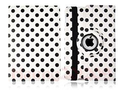 """myLife Polar White and Coal Black {Circles Dots Scattered Polka Dots} 360 Degree Rotating Case for Apple iPad Mini 1, 2 and 3 (High Quality Koskin Faux Leather Cover + Slim Lightweight Design) """"All Ports Accessible"""" myLife Brand Products http://www.amazon.com/dp/B00TXW4JEY/ref=cm_sw_r_pi_dp_Xxgfvb0XYD0AZ"""