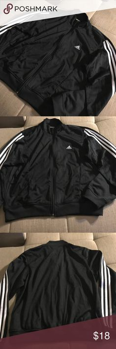 Adidas women's track jacket Adidas black track jacket. Barely worn and very soft. Adidas Tops Sweatshirts & Hoodies