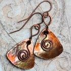 Rustic Trillion Hammered Copper Artisan Earrings Torched Triangles
