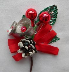 christmas corsages | Vintage Christmas Corsage Foil Bells, Leaf, Glass Ball, Red Silver ...