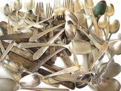 New to LaurasLastDitch on Etsy: Silverplate Silverware Scrap Spoon Fork Knife Craft Lot Bulk Flatware 49 pcs (5 are nickel silver) (42.99 USD)