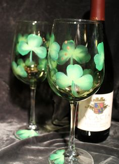 Hand Painted Wine Glasses  St Patrick's Day by SilkEleganceFlorals, $24.95