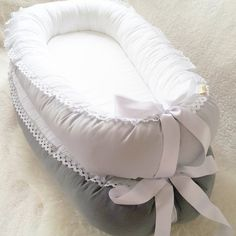 Light grey Lace and Satin ribbon Babynest baby by BelisaBrand