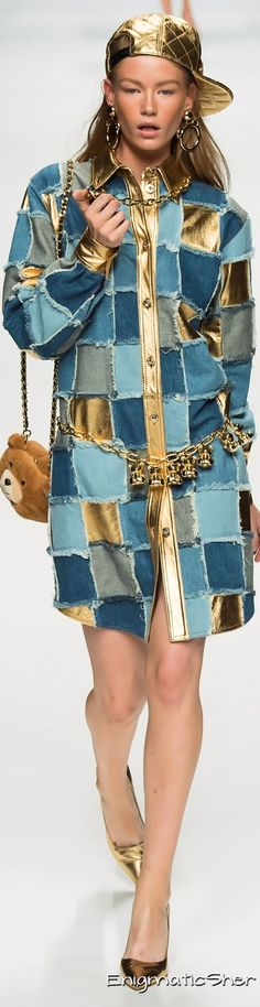 not the gold - but the idea of combining leather and denim! Moschino Collections Fall Winter 2015-16
