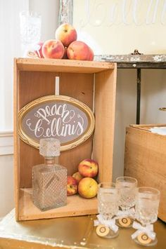 Signature Beverage Station featuring Crystal Goblets, Crystal Decanter, Wooden Fruit Crate & Custom Chalkboard Sign