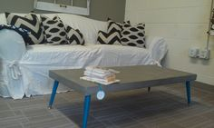 coffee table with blue legs