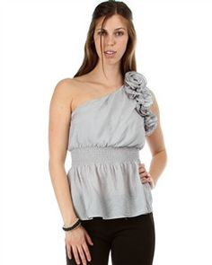 KANDYCE GRAY ONE SHOULDER BLOUSE