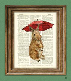 Rainy Day Rabbit. Cute Bunny Rabbit illustration beautifully upcycled dictionary page book art print via Etsy