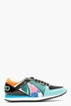 KENZO Teal Leather & Neoprene Abstract Sneakers