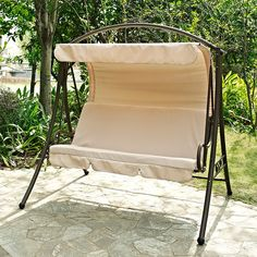 Have to have it. Coral Coast Canopy Swing with Back Shade Canopy - Beige - $190.01 @hayneedle