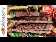 YouTube Grilling Recipes, Street Food, Steak, Sandwiches, Bbq, Food And Drink, Pork, Appetizers, Cooking