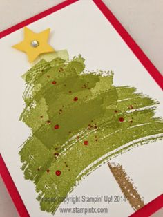 Stamps:  Work of Art, Gorgeous Grunge, Christmas Messages (for sentiment inside) Ink:  Old Olive Classic Ink, Real Red Classic Ink, Soft Suede Classic Ink Paper:  Whisper White card stock, Real Red card stock Accessories:  Stars Framelits,  Cherry Cobbler Dazzling Details